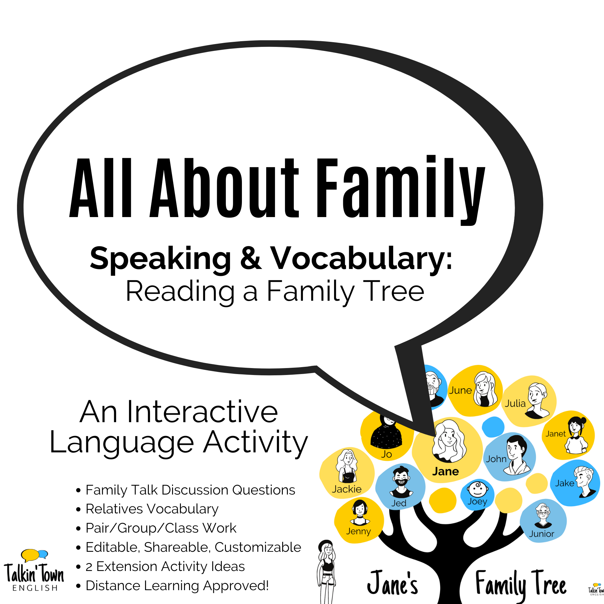 Family Tree Language Activity for ESL students
