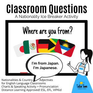 ESL lesson plan ice breaker on nationalities